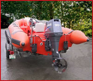 Propellor guard on rigid haul inflatable boat   Adventure Marine Boat Parts