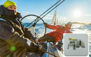 Sailing team at helm with overlay of boat parts and marine supplies. Adventure Marine