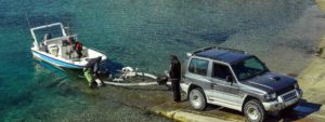 Fishing boat being launched from shore ramp - Adventure Marine